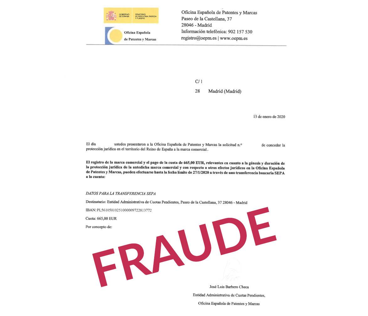 Aviso carta fraude oepm