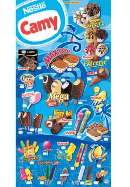cartel helados camy